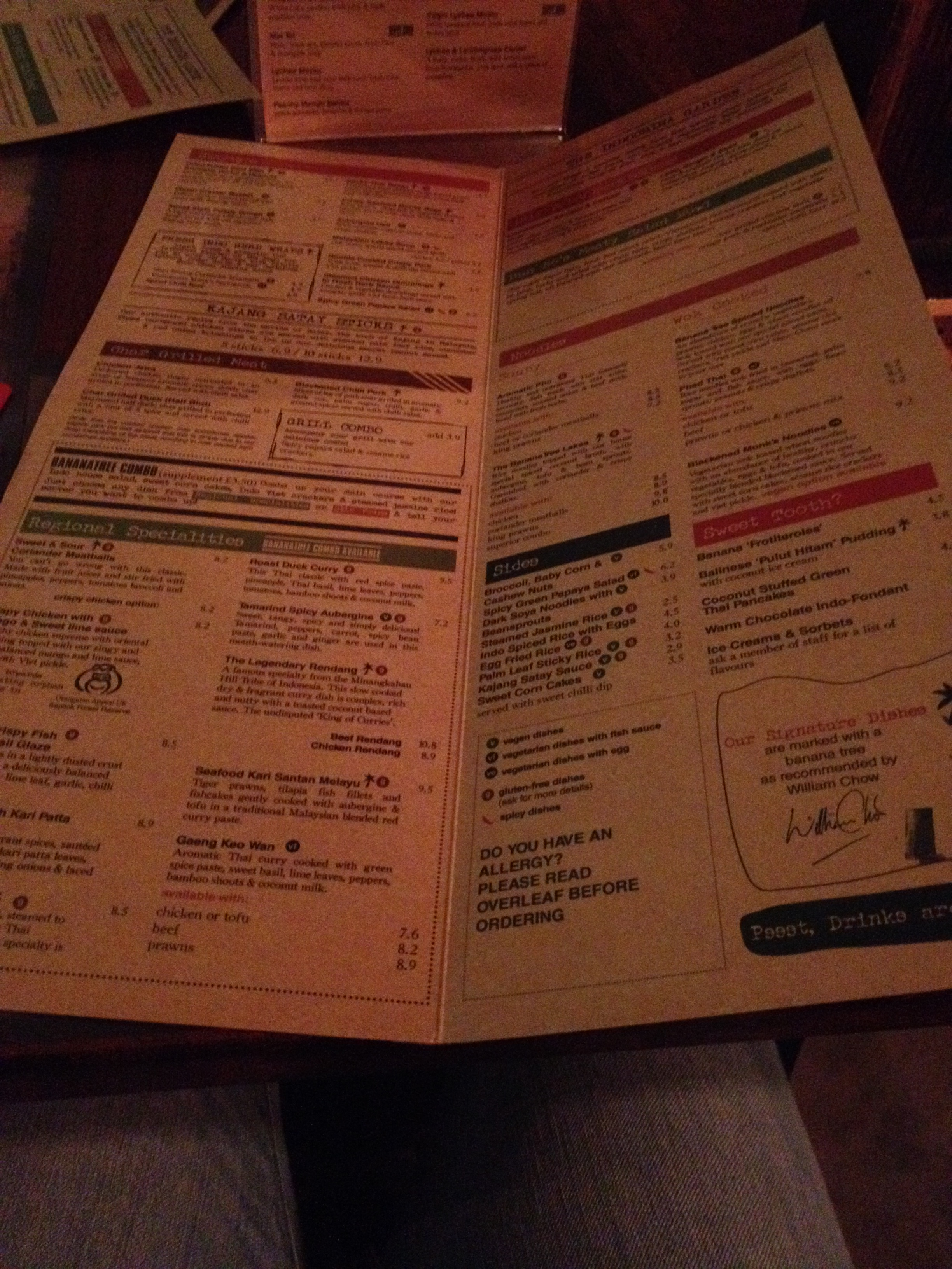 Banana Tree Menu
