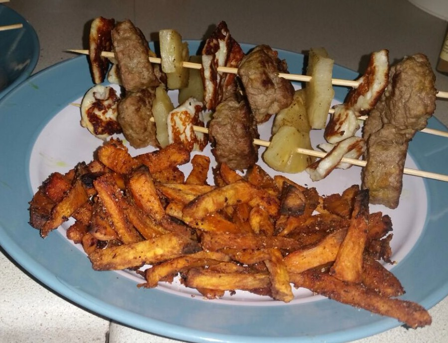 Lamb kofte, halloumi and pineapple kebabs