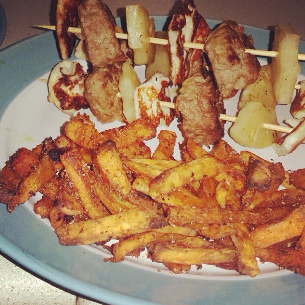 lamb kofte, halloumi & pineapple kebabs with sweet potato fries