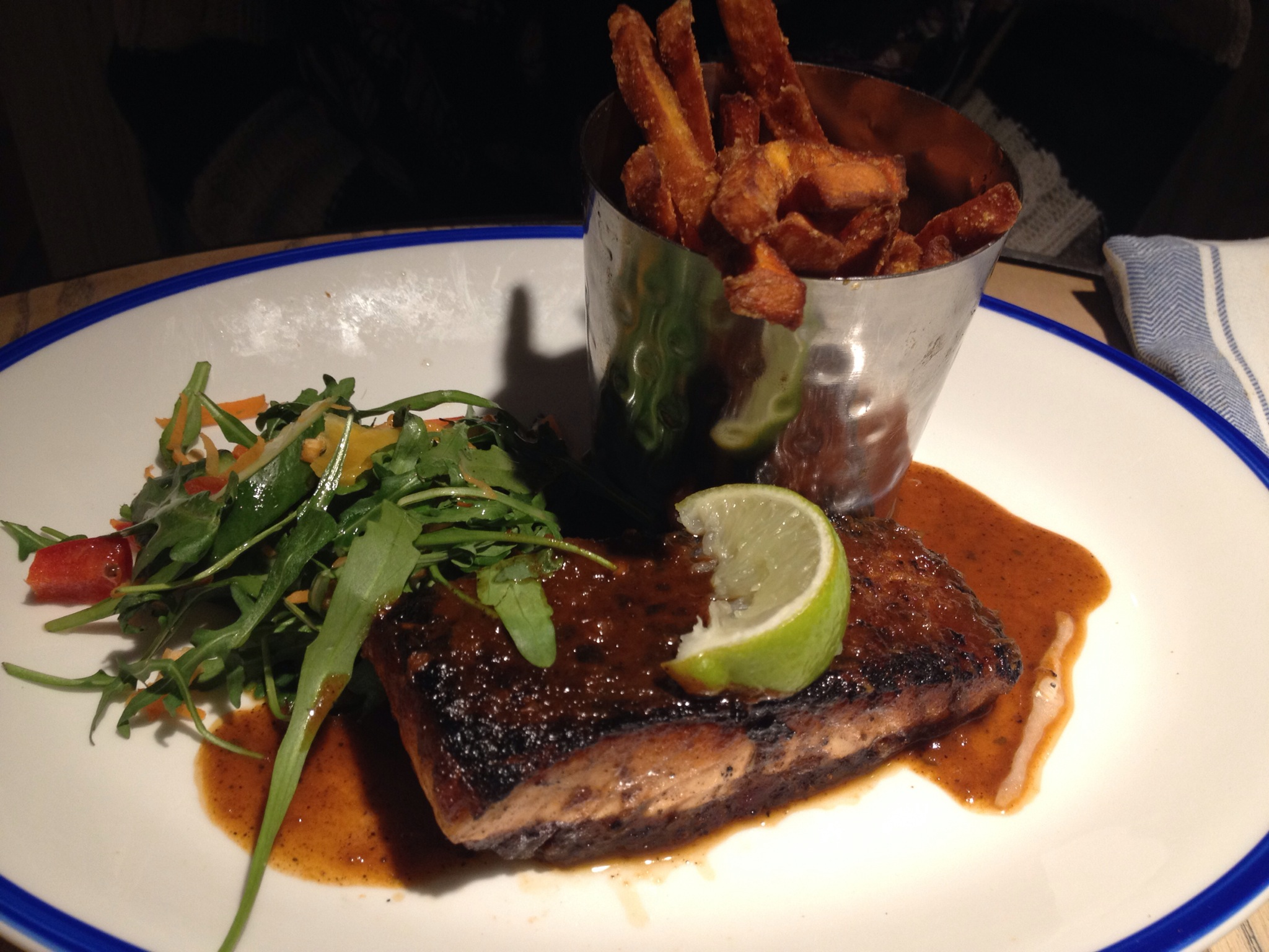 Turtle Bay - Jerk Salmon and Sweet Potato Fries