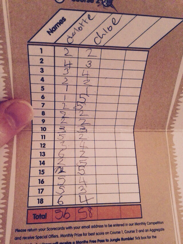 Jungle Rumble Mini Golf Score Sheet