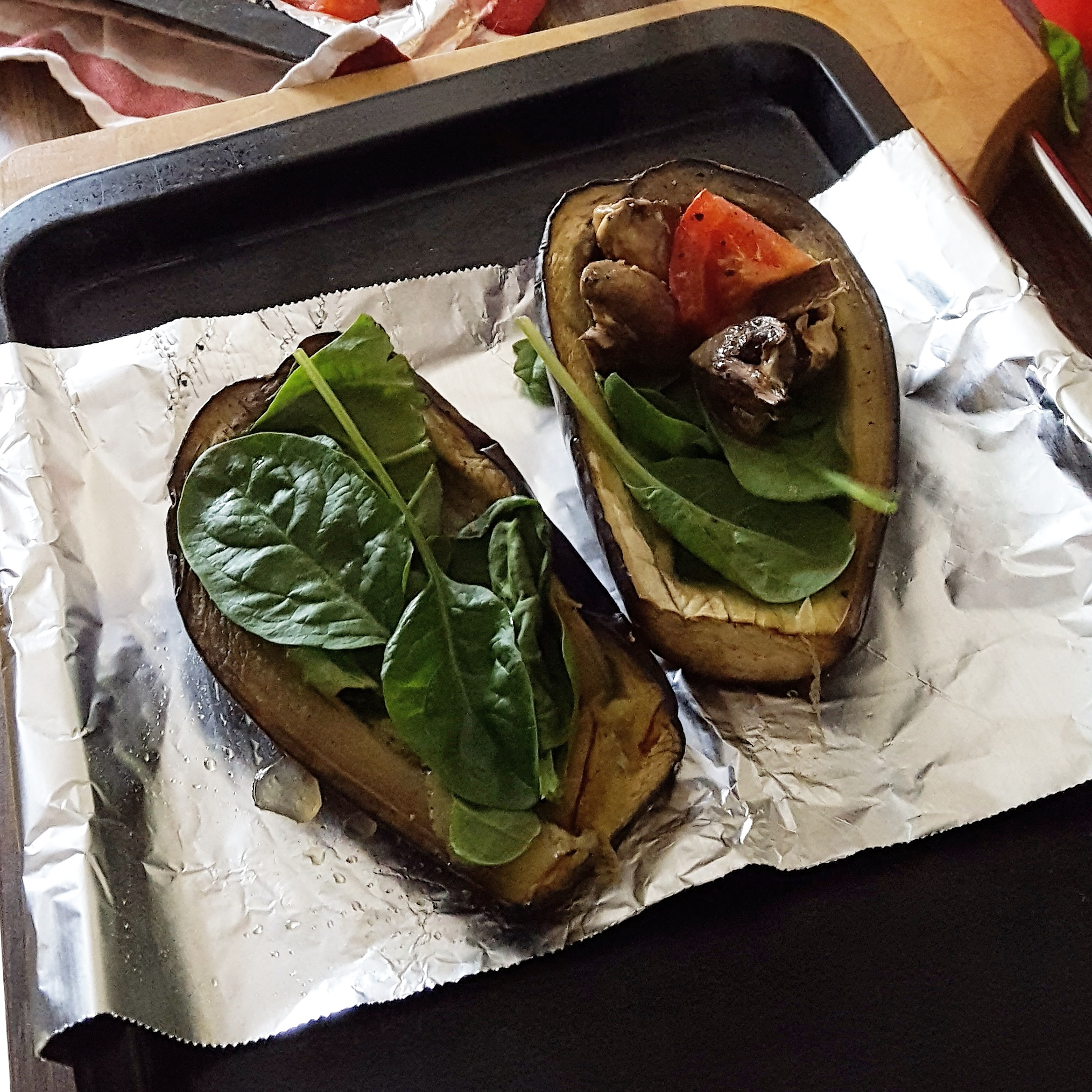 Recipe, roasted vegetable and feta aubergine boats