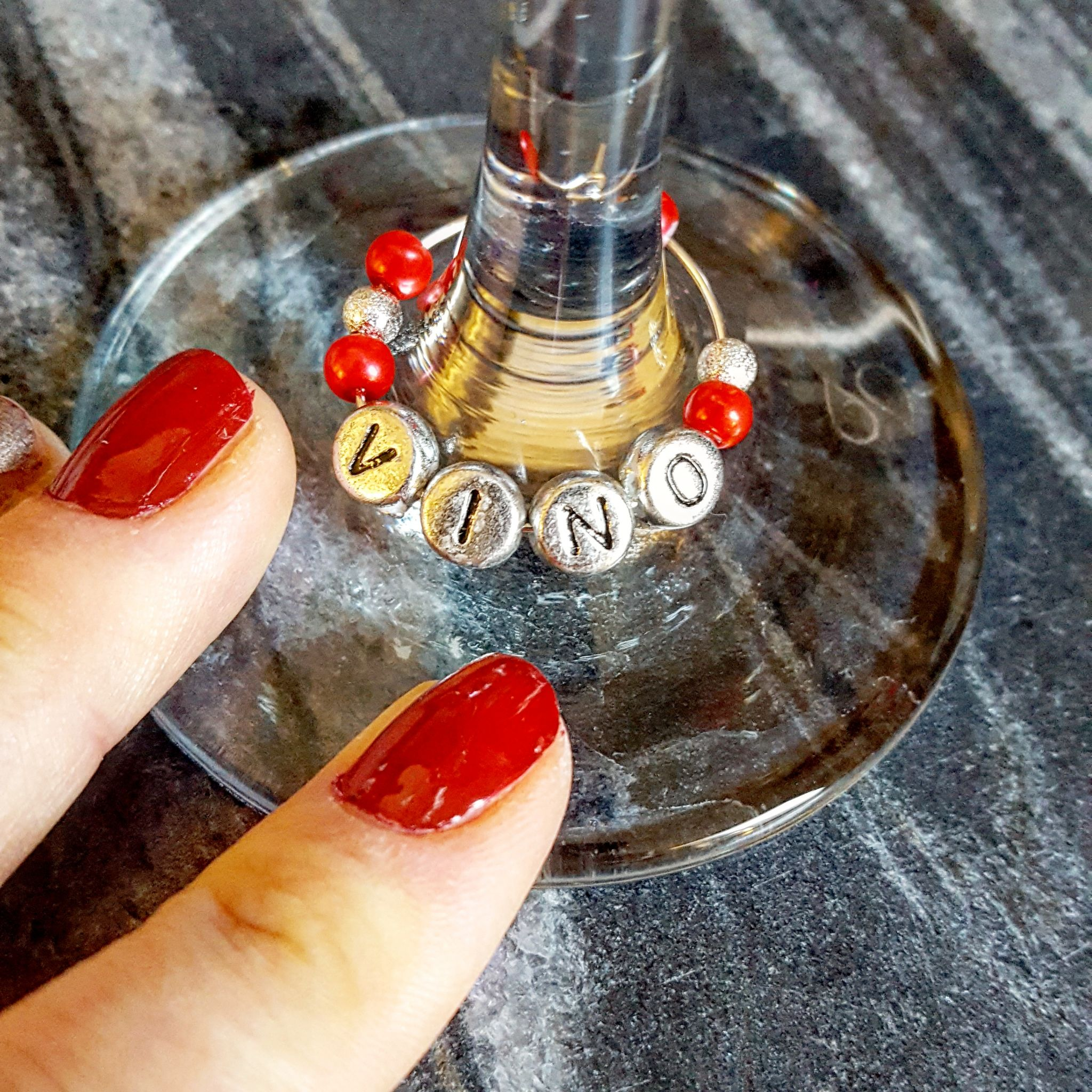 Homemade wine glass charms