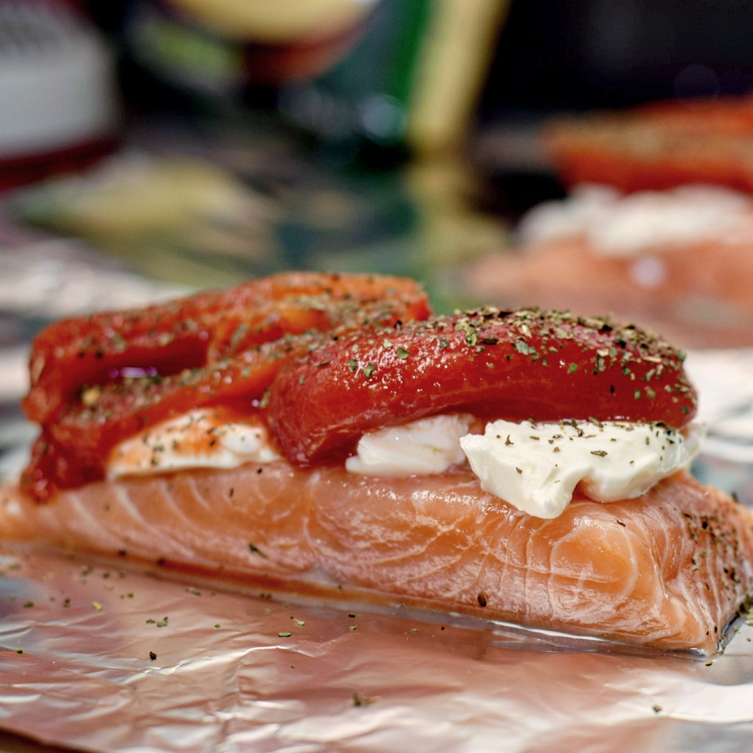 Baked Salmon with Cream Cheese & Plum Tomatoes