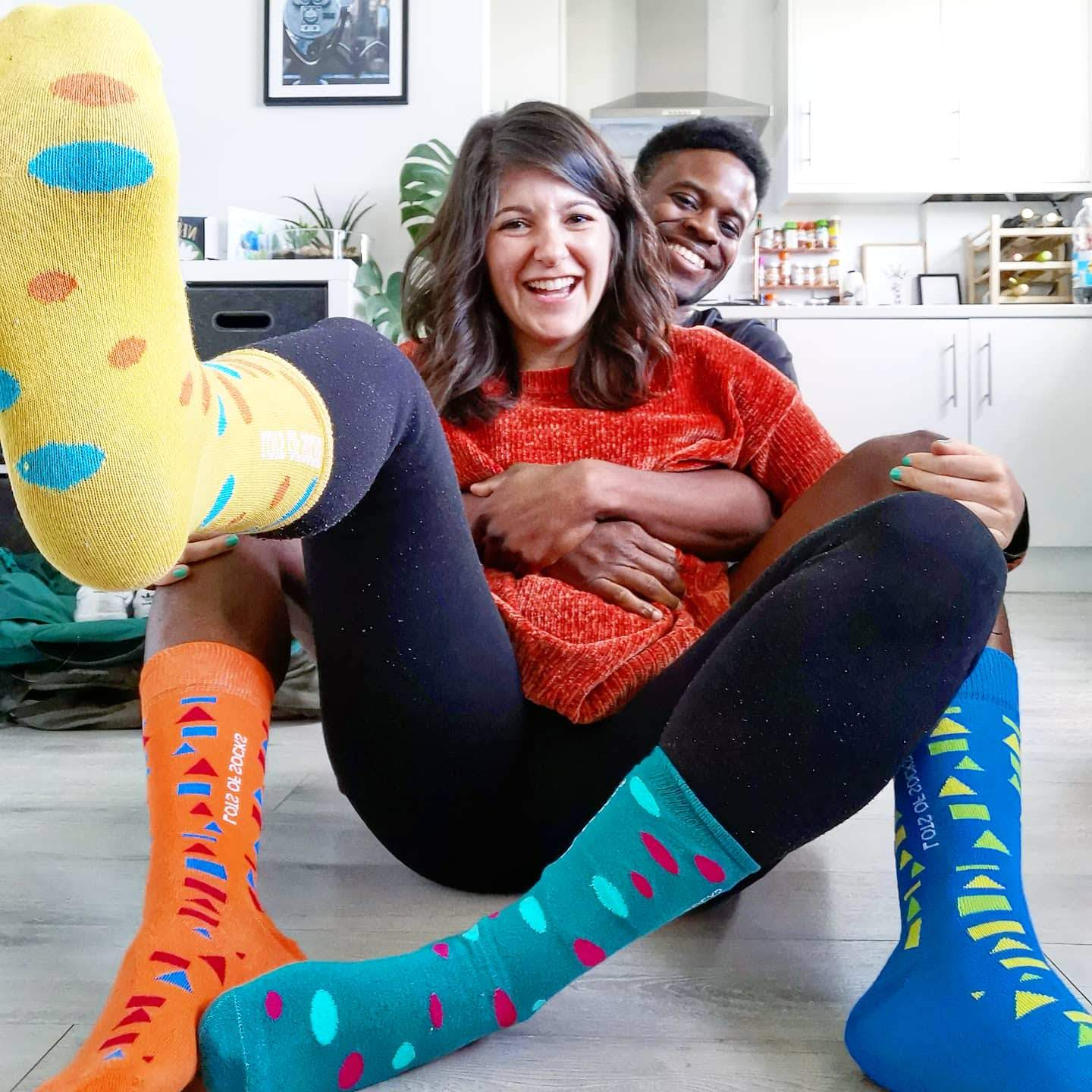 MY OCD experience - two people laughing with odd socks on