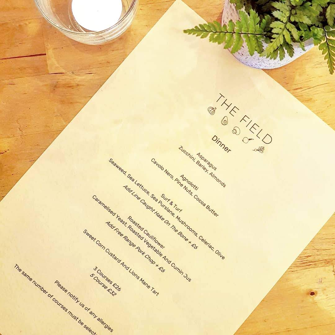 The Field Restaurant, Plant-plus menu, London Fields