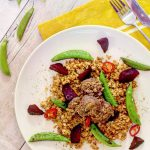 Cumin meatballs, roast beetroot & sauteed sugar snap peas recipe