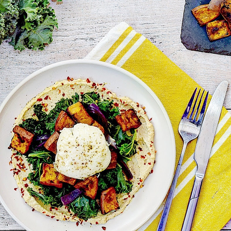 Paprika Roasted Sweet Potato, Hummus, Wilted Kale & Red Onion Recipe