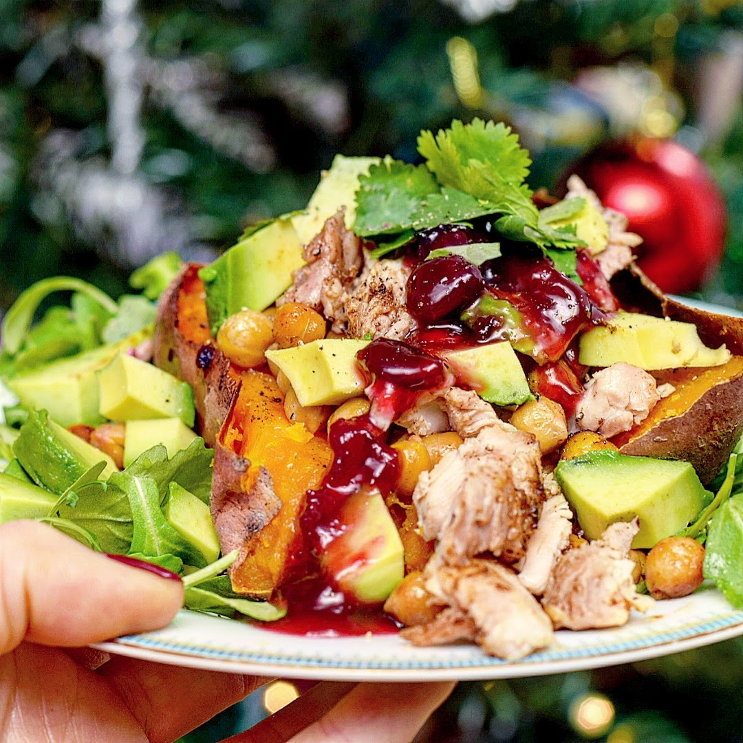 Turkey & cranberry baked sweet potato