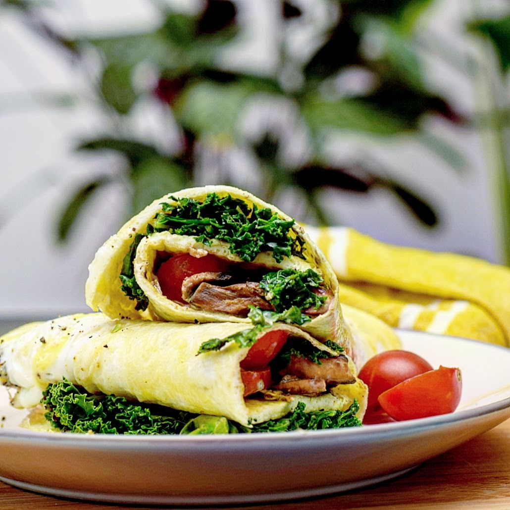 Omelette wrap with cumin mushrooms, kale and tomato, recipe