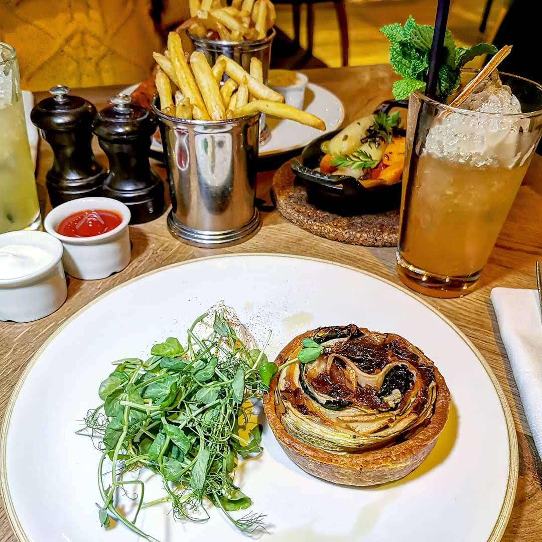 Percy & Founders, vegetable tart with whipped english fettle