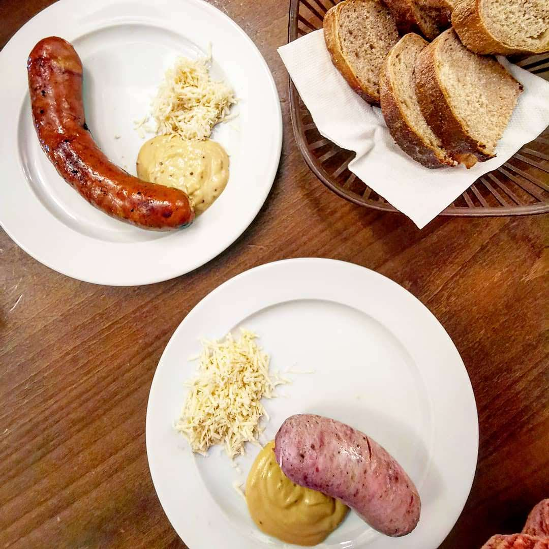 Lokal, sausages with mustard and a side of bread