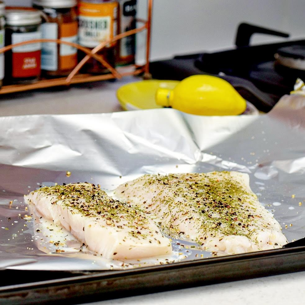 Lemon, Dill and Black Pepper Baked Cod Recipe before cooking