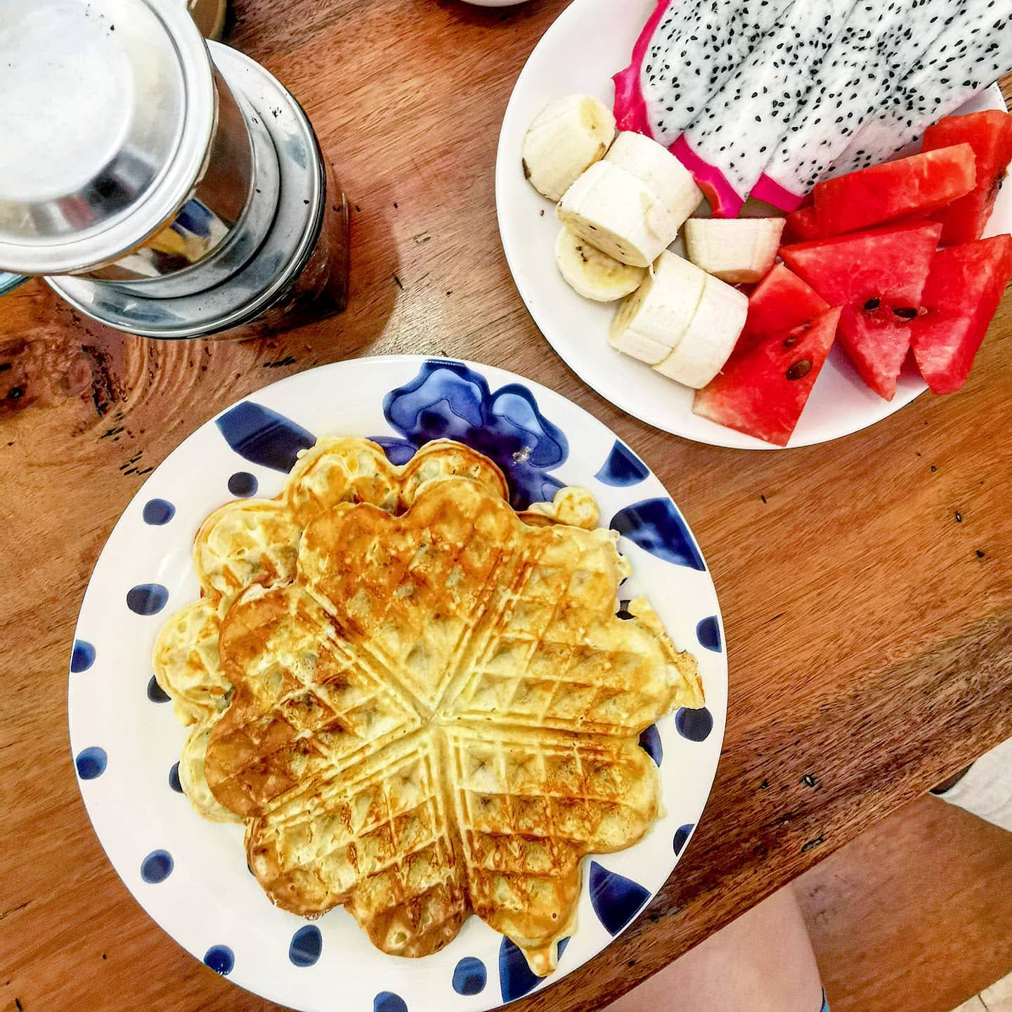 Waffles with fresh fruit at Purple Hue Bnb