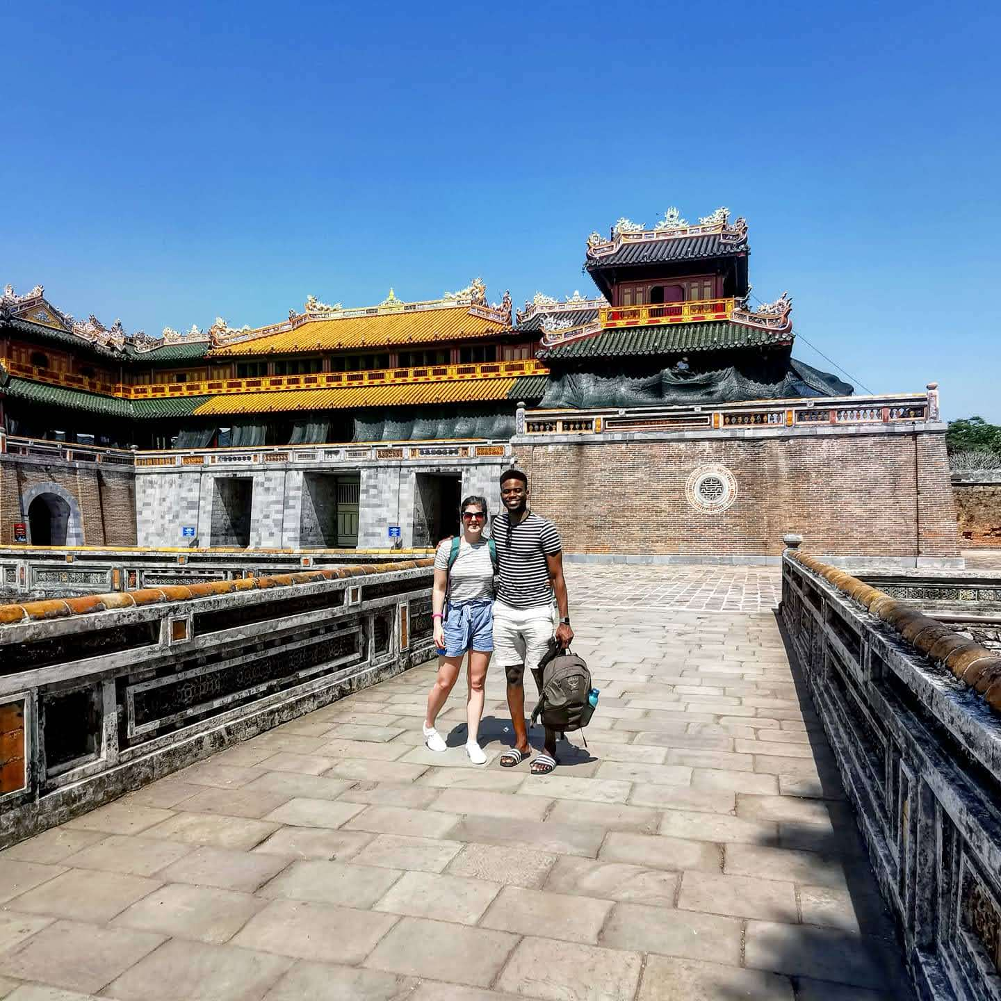 Couple outside Imperial Tombs in Hue